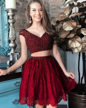 Two Piece V-neck Beading Red Homecoming Dress with Lace Skirt HD3066