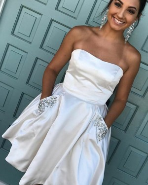Short Strapless Ivory Satin Homecoming Dress with Beading Pockets HD3073