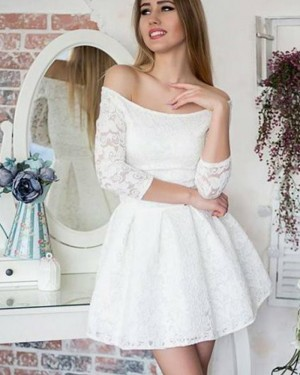Ivory Lace Off the Shoulder Party Dress with 3/4 Length Sleeves HD3078