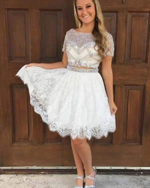 Two Piece White Bateau Beading Sheer Homecoming Dress with Lace Skirt HD3082