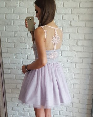 7099677312f ... Lace Bodice Short V-neck Lavender Homecoming Dress with Tulle Skirt  HD3089