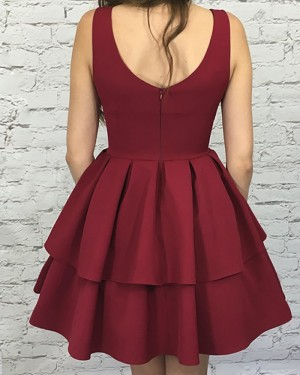 a746003e266 ... Simple Rose Red Square Layered Pleat Satin Short Homecoming Dress HD3110