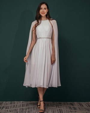 Beading White Chiffon Pleated Ankle Length Prom Dress with Hanging Sleeves QS311046