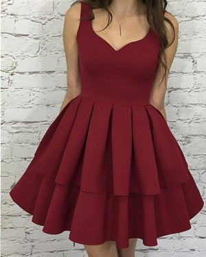 372429984b7 Simple Rose Red Square Layered Pleat Satin Short Homecoming Dress HD3110 ...