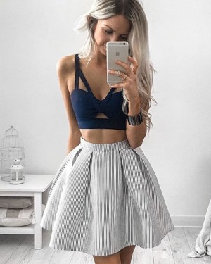 Two Piece Blue Bodice V-neck Cutout Homecoming Dress with Striped Skirt HD3118