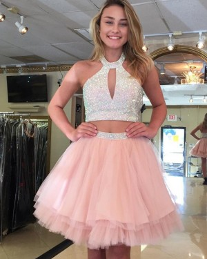 Two Piece High Neck Pink Cutout Beading Homecoming Dress HD3123