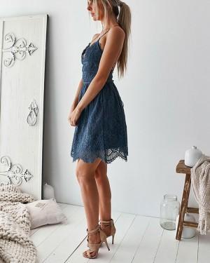 Amazing Blue Lace Spaghetti Straps Homecoming Dress HD3126