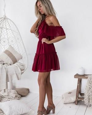 A-line Burgundy Cold Shoulder Chiffon Homecoming Dress HD3127
