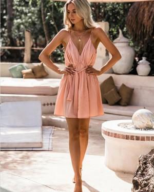 Simple V-neck Pleated Spaghetti Straps Chiffon Pink Homecoming Dress HD3129