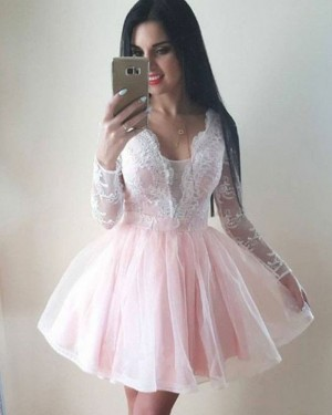 Pearl Pink Lace V-neck Bodice Homecoming Dress with Long Sleeves HD3131