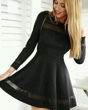 Jewel Black A-line Little Black Dress with Long Sleeves HD3141