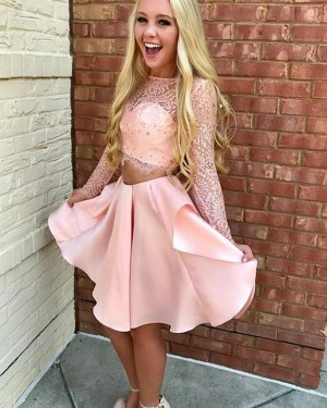 Amazing Two Piece Sheer Lace Bodice Pink Homecoming Dress HD3142