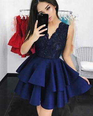 V-neck Lace Bodice Layered Navy Blue Homecoming Dress HD3147