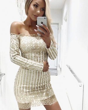 Gold Sequined Off the Shoulder Tight Club Dress with Long Sleeves HD3176
