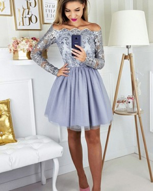 Dusty Blue Lace Bodice Off the Shoulder Homecoming Dress with Long Sleeves HD3189