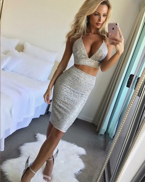 Sexy Silver Tight Two Piece Beading Club Dress HD3192