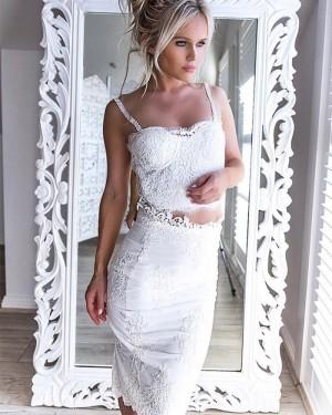 cbfa84560c1 ... Lace Bodice Knee Length Two Piece Square White Graduation Dress HD3199