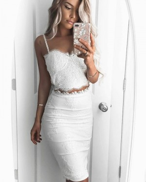Lace Bodice Knee Length Two Piece Square White Graduation Dress HD3199