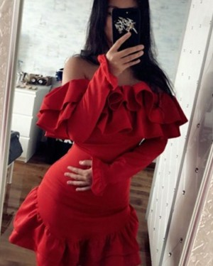 Red Long Sleeve Off the Shoulder Sheath Party Dress with Flounce Hem HD3203