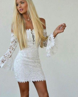 White Crisscross Off the Shoulder Lace Tight Club Dress with Bell Sleeves HD3207