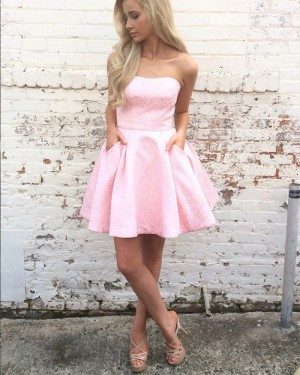 Pink Lace A-line Strapless Homecoming Dress with Pockets HD3213
