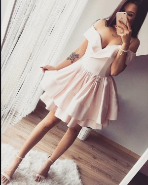 Pearl Pink Pleated Off the Shoulder Homecoming Dress with Layered Skirt HD3217