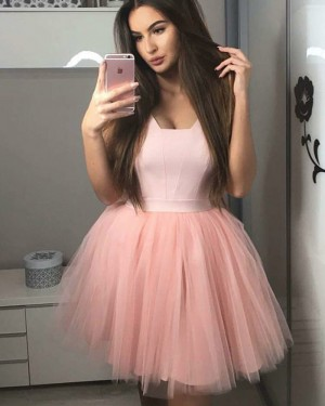Satin and Tulle Pink A-line Simple V-neck Homecoming Dress HD3220