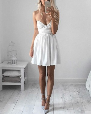 Simple Ruched Satin White V-neck Homecoming Dress with Pleats HD3223