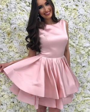 Simple Layered Jewel Blush Pink Satin Homecoming Dress with Pleats HD3227