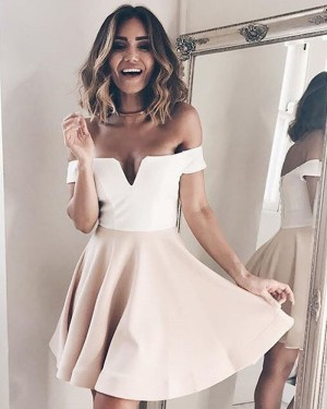 White and Pink Cutout Off the Shoulder Simple Satin Homecoming Dress HD3242