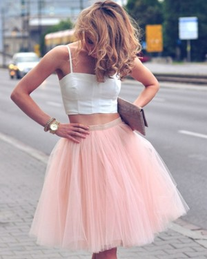 White and Pink Short Two Piece Square Party Dress with Tulle Skirt HD3269