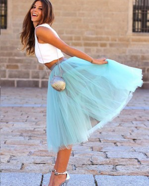 White and Mint Knee Length Two Piece Formal Dress with Tulle Skirt HD3272