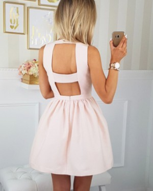 Simple Pearl Pink Scoop Satin Homecoming Dress with Pockets HD3289