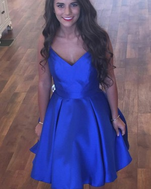 Simple Blue Pleated V-neck Royal Homecoming Dress with Pockets HD3292