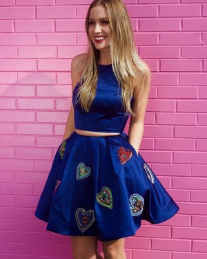 Blue Jewel Appliqued Two Piece Homecoming Dress with Pockets HD3293