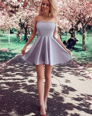 Simple Light Purple Satin A-line Strapless Homecoming Dress with Side Zipper HD3296
