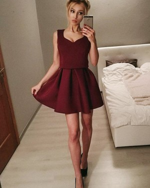 Burgundy Pleated Scoop Fit & Flare Homecoming Dress HD3301