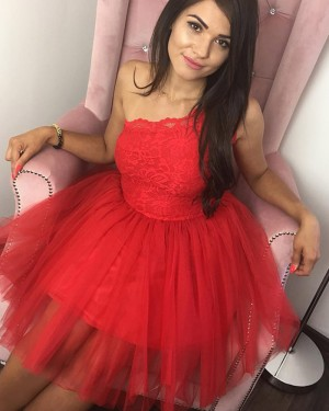 Lace Bodice Scoop Red Ball Gown Short Homecoming Dress HD3303
