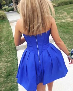 Simple Blue Pleated Sweetheart Satin Homecoming Dress HD3304