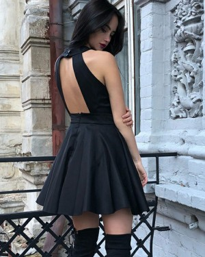 Simple Black Pleated High Neck Satin Homecoming Dress with Open Back HD3305