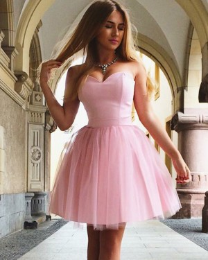 Simple Satin & Tulle Sweetheart Pink Homecoming Dress HD3306