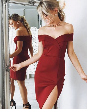 Burgundy Tight Off the Shoulder Satin Homecoming Dress with Slit HD3312