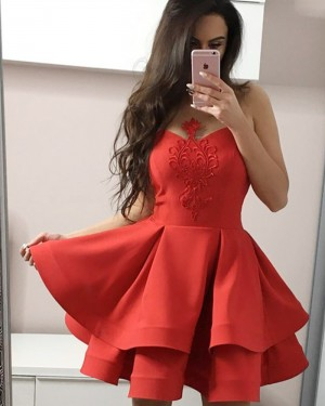 Red Sheer Appliqued Satin Homecoming Dress with Layered Skirt HD3317
