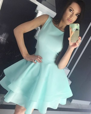 Fit & Flare Satin Jewel Cyan Homecoming Dress with Layered Skirt HD3318