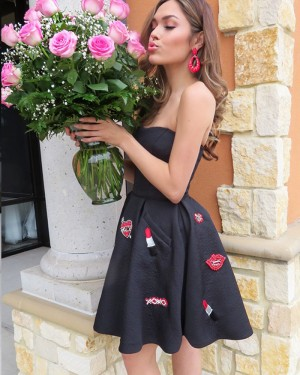 Black Satin Strapless Applique Homecoming Dress with Pockets HD3326