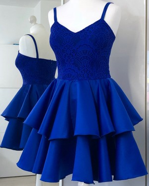 Royal Blue Lace Spaghetti Straps Bodice Homecoming Dress with Layered Skirt HD3330
