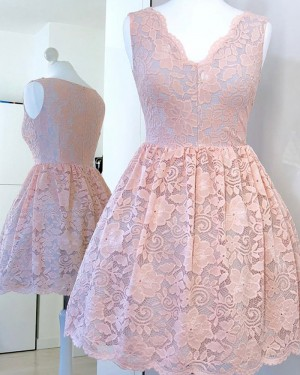 Pink Pleat Jewel Embroidered Homecoming Dress with Long Sleeves HD3334