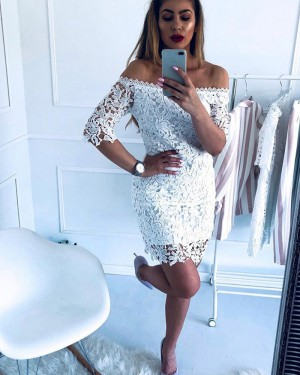 Lace Tight Off the Shoulder Club Dress with Half Length Sleeves HD3339