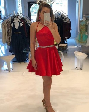 Red Crisscross Satin Homecoming Dress with Beading Belt HD3344