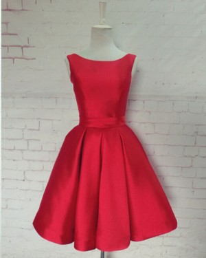 Scoop Red Satin Pleated Homecoming Dress with Bowknot HD3346